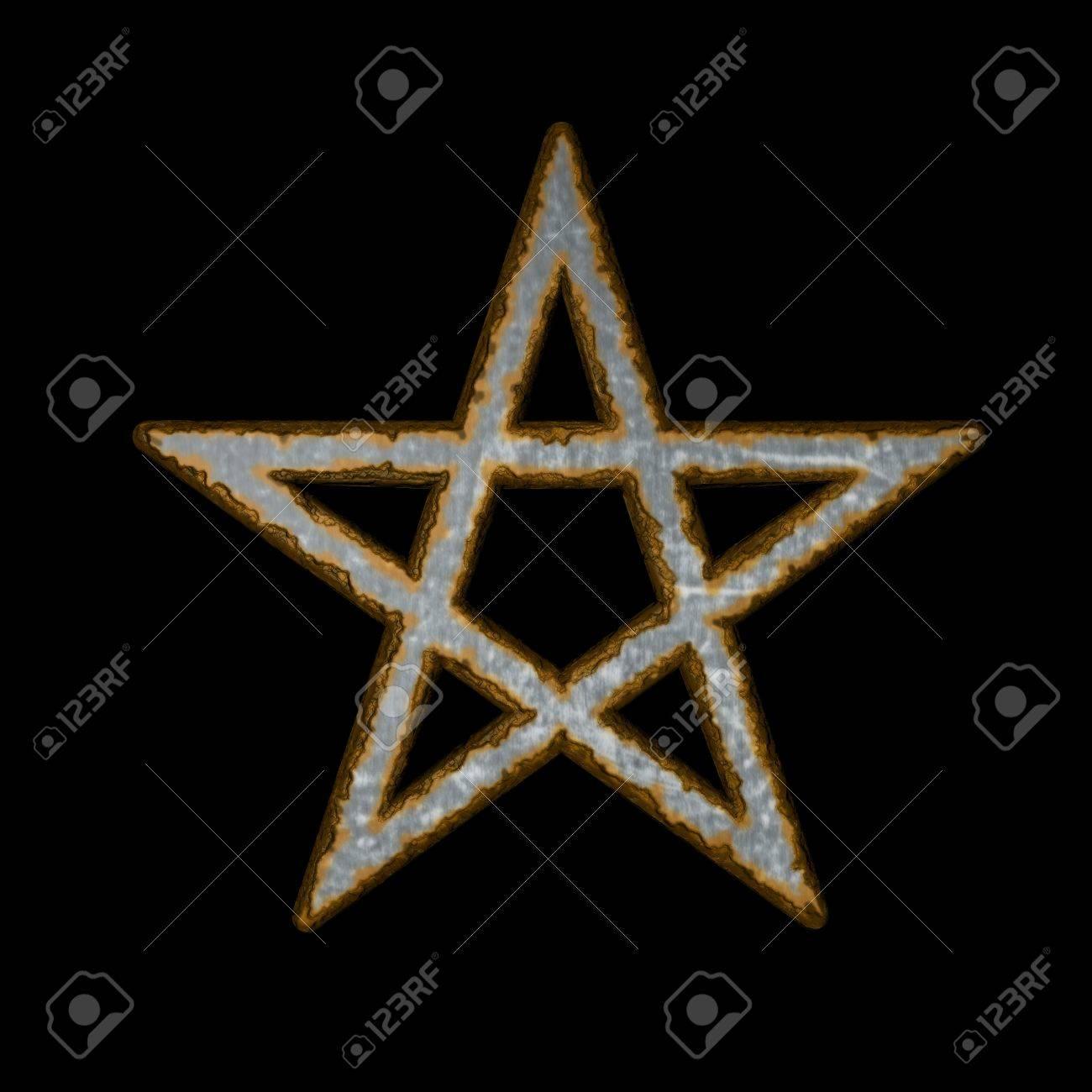 rusty pentacle on black background - 3d illustration Stock Illustration - 11478485