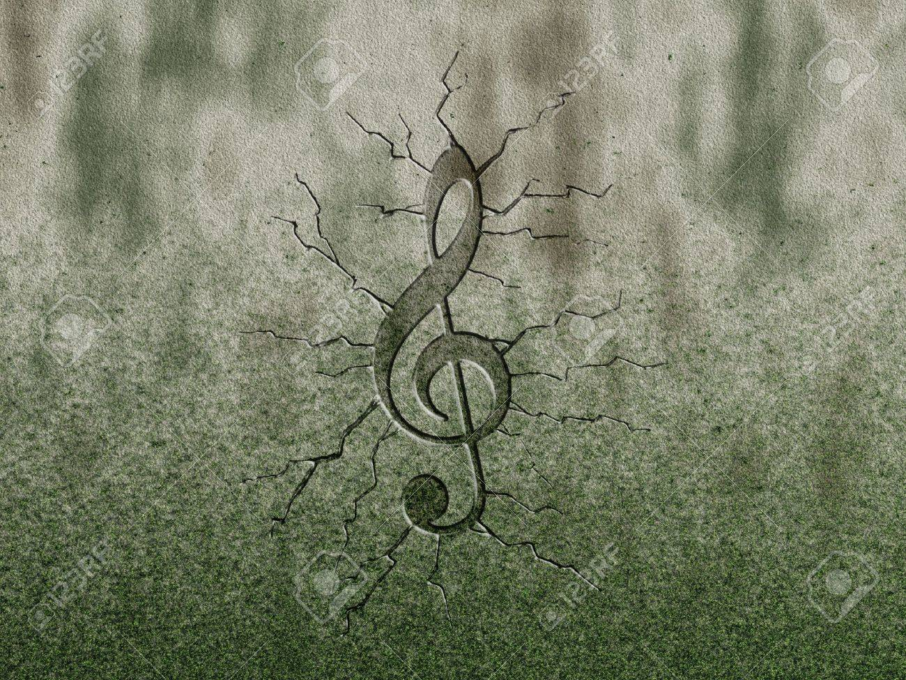 clef relief on stone background Stock Photo - 11478617