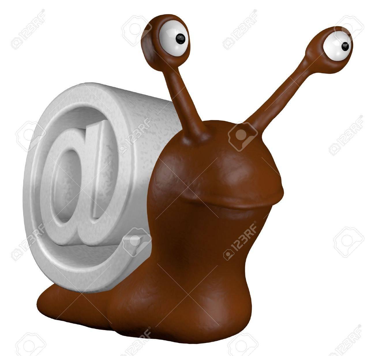 funny slug with email alias - 3d cartoon illustration Stock Illustration - 12157045