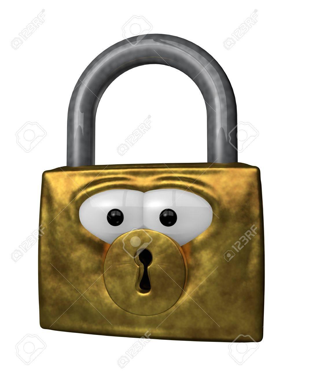 padlock with cartoon eyes - 3d illustration Stock Illustration - 12603576