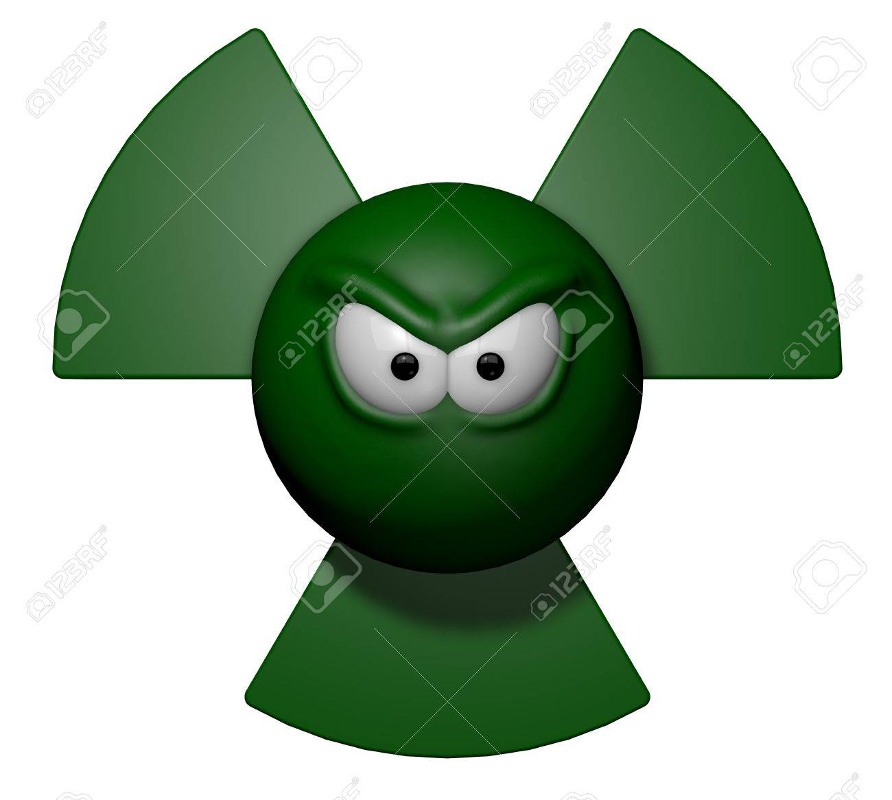 nuclear symbol with grim comic face - 3d illustration Stock Illustration - 12603719