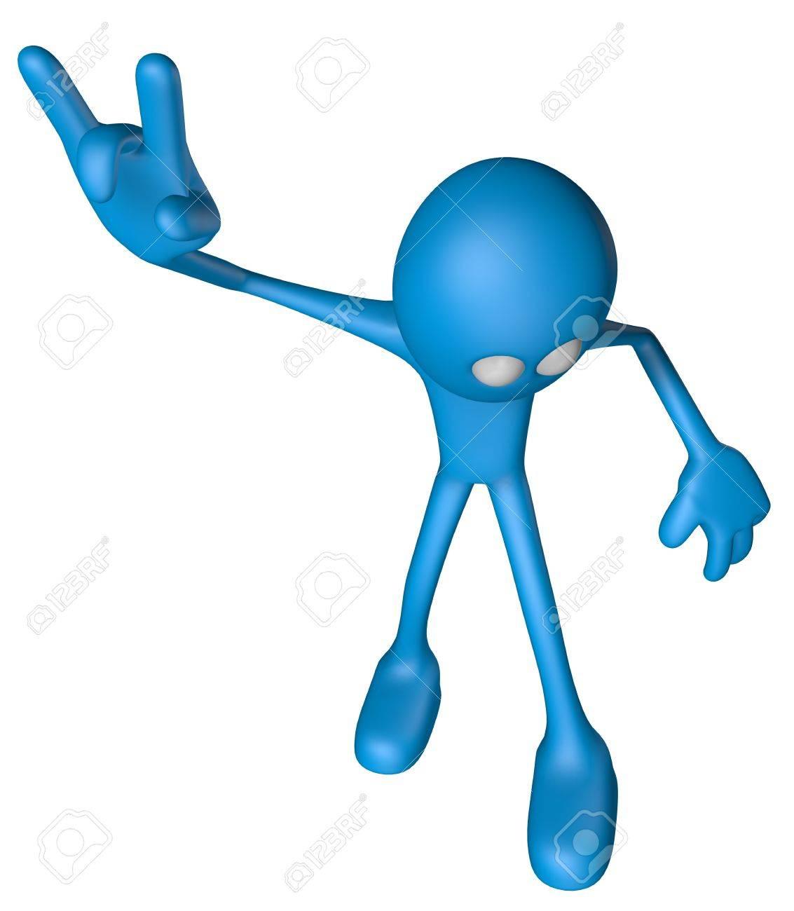 blue guy shows heavy metal hand - 3d illustration Stock Illustration - 12857773