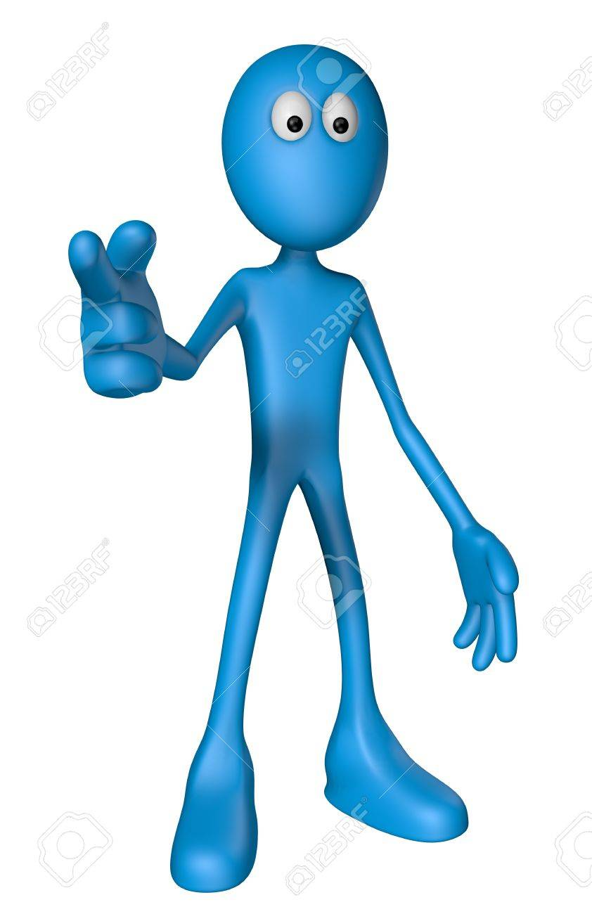 blue guy shows someone with his forefinger - 3d illustration Stock Illustration - 13076518
