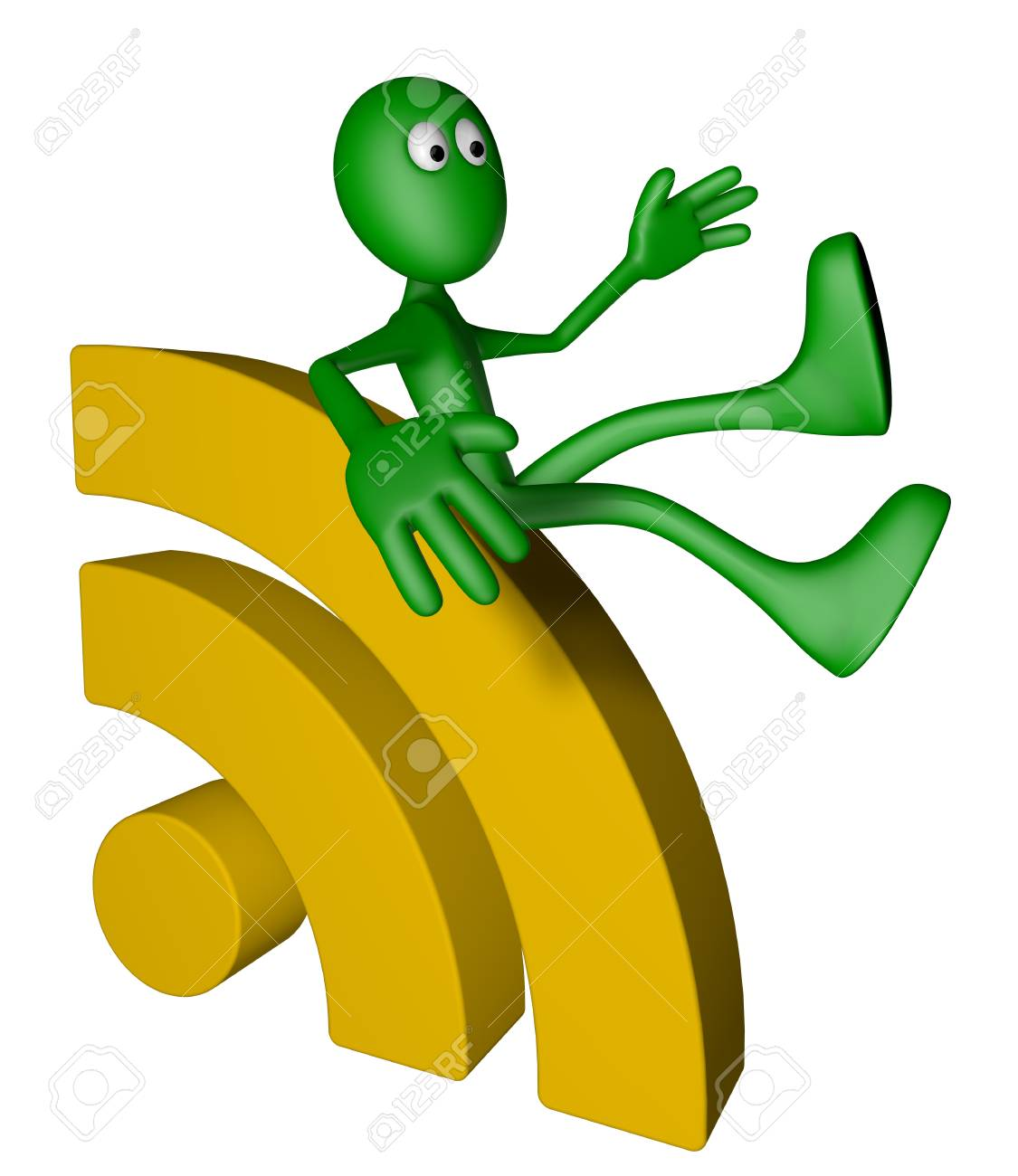green guy and rss symbol - 3d illustration Stock Photo - 13109066