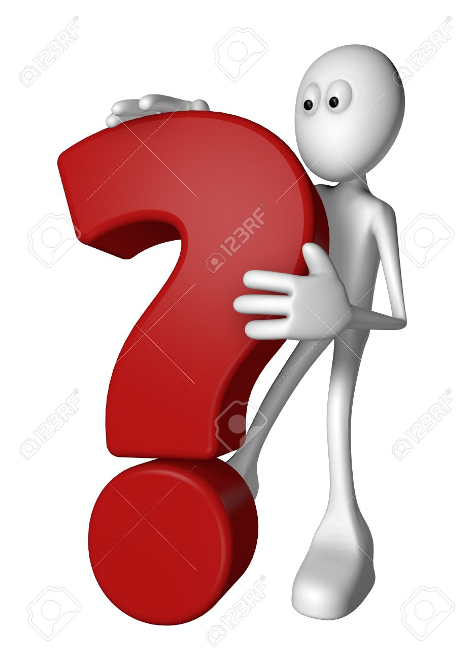 white guy and question mark - 3d illustration Stock Photo - 13219196