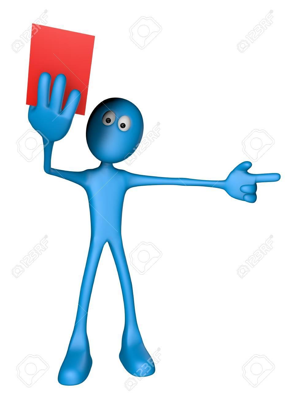 blue guy shows red card - 3d illustration Stock Illustration - 13219194