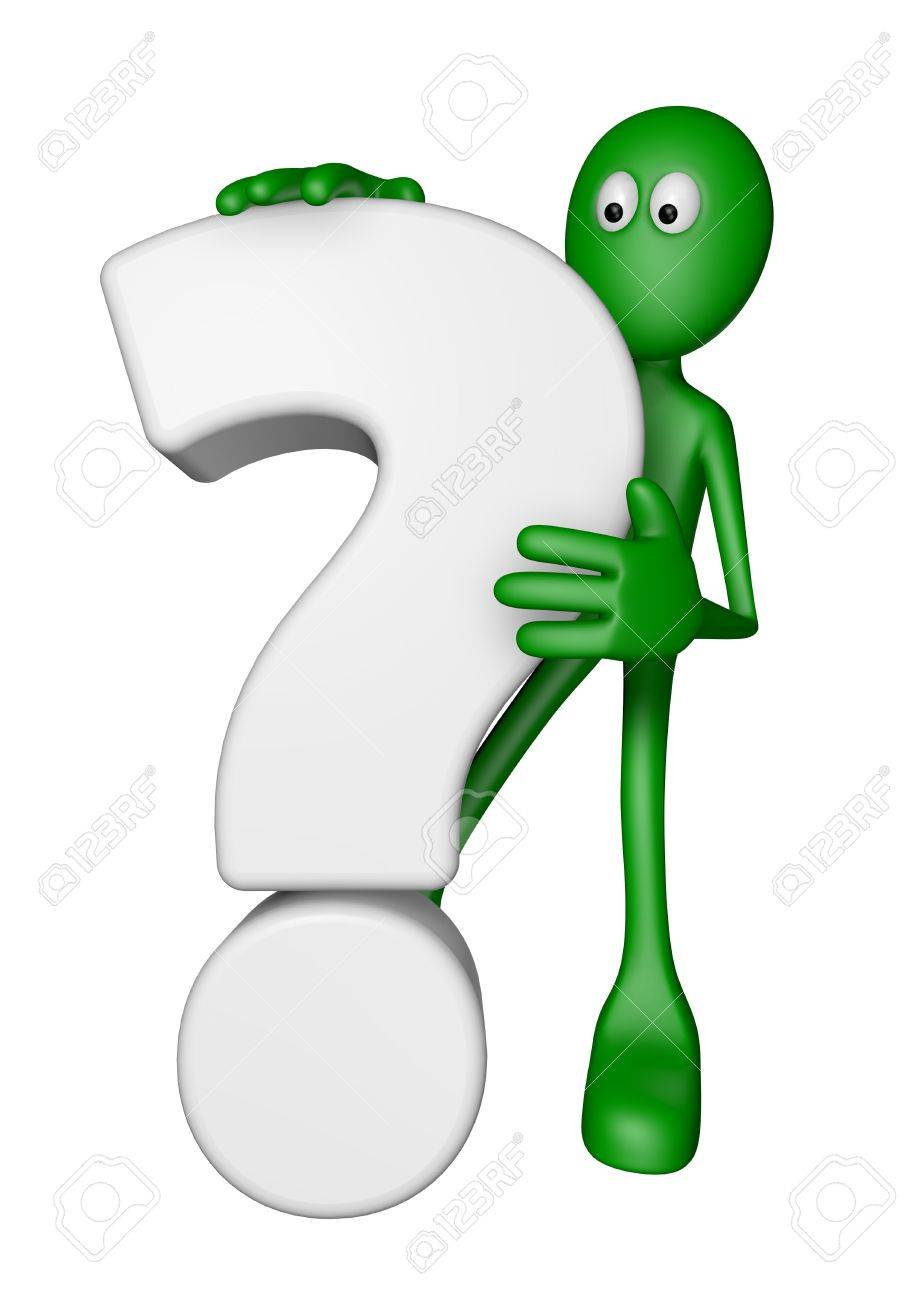 green guy and question mark - 3d illustration Stock Illustration - 13500236