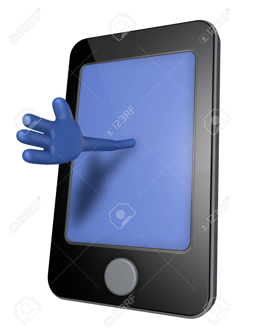 smartphone with blue hand on display - 3d illustration Stock Illustration - 13500237