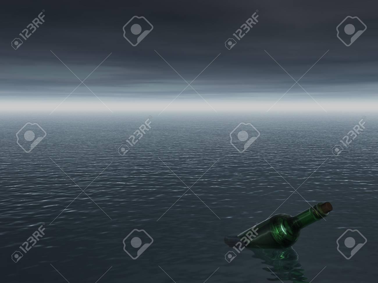 best prices discount shop best quality Mensaje en una botella en el océano - 3d ilustración