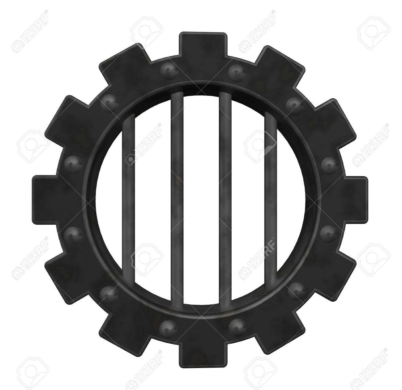 gear wheel prison window - 3d illustration Stock Illustration - 14358312