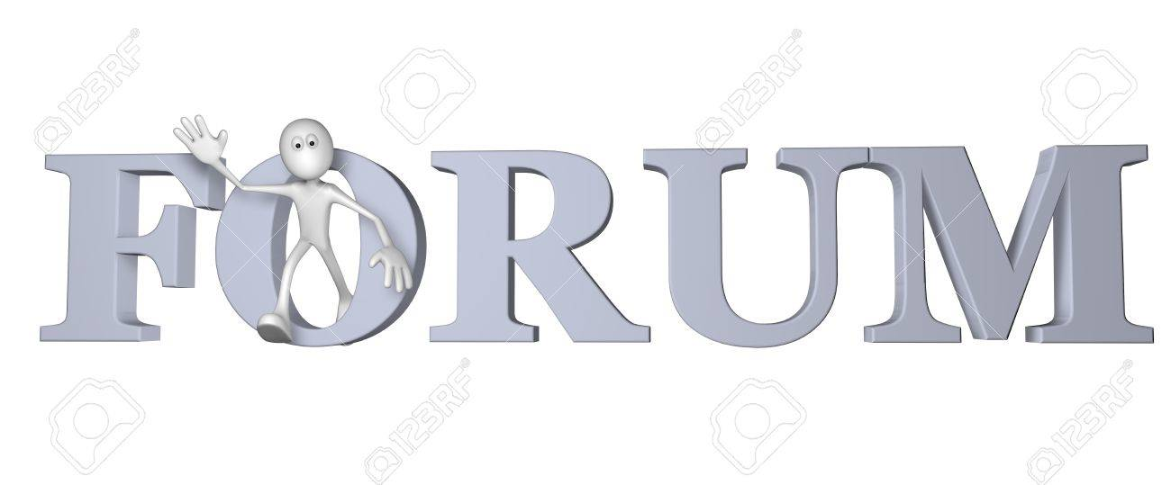 white guy and the word forum - 3d illustration Stock Illustration - 14410509
