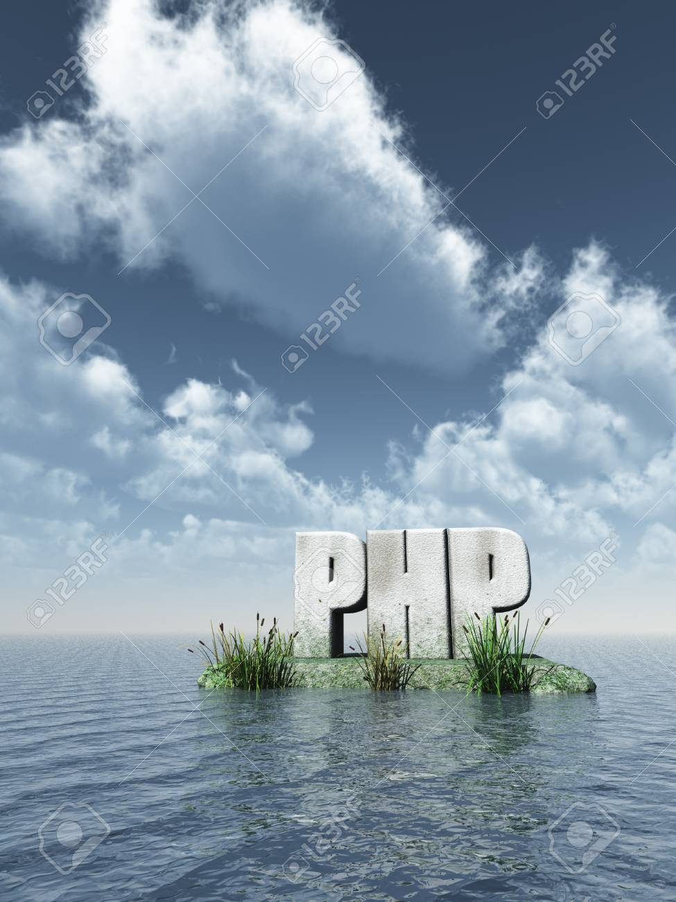 stone php tag at water - 3d illustration Stock Photo - 15496415