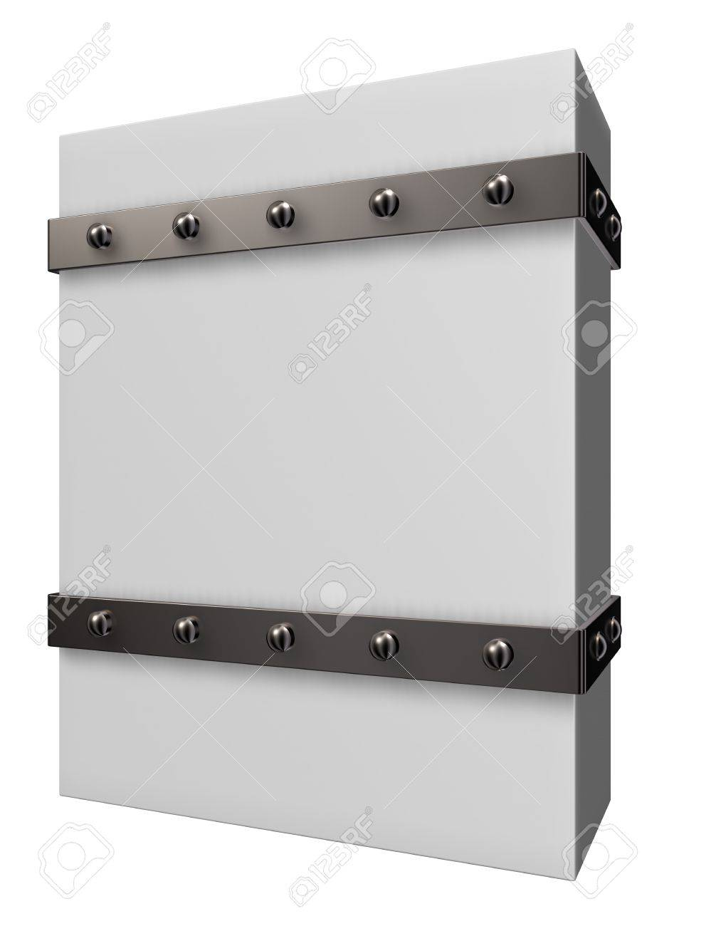 blank box with riveted iron bands - 3d illustration Stock Photo - 15312741