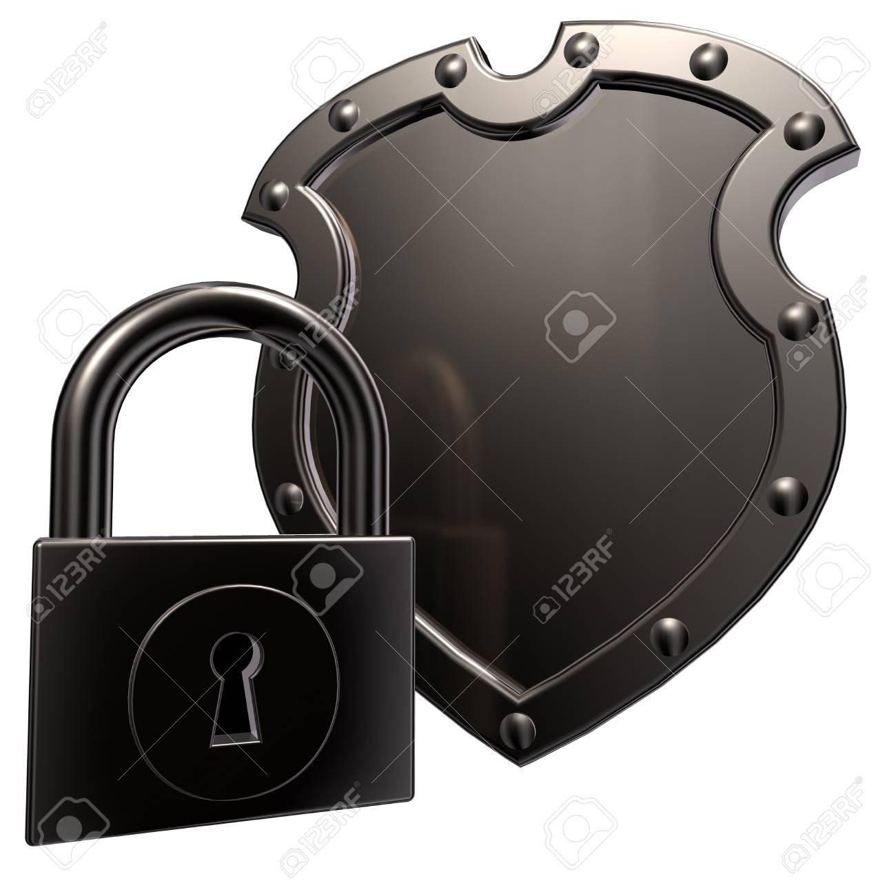 metal shield and padlock on white background - 3d illustration Stock Illustration - 15379017