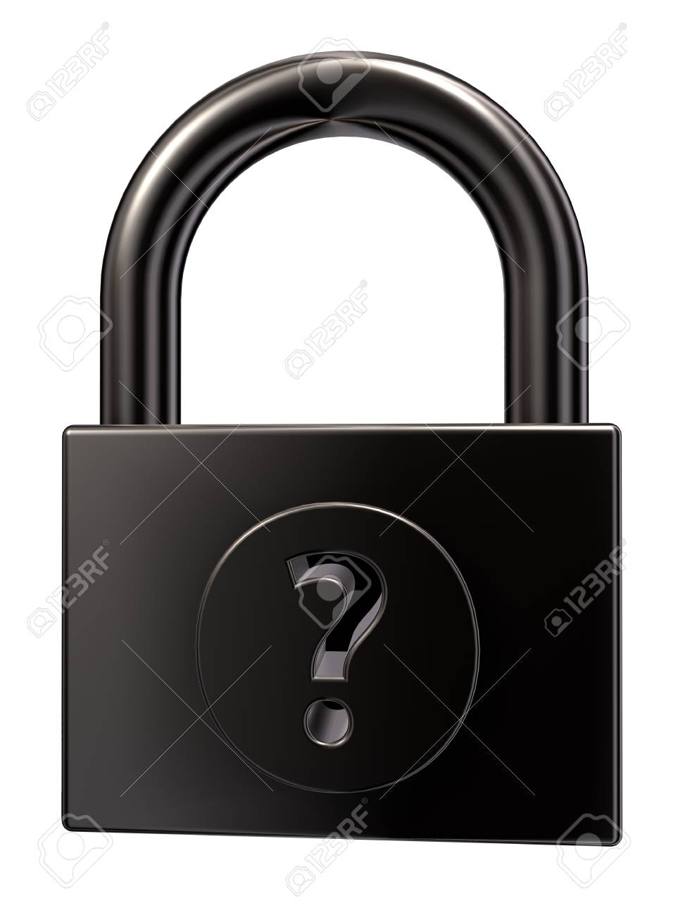 padlock with question mark on white background - 3d illustration Stock Photo - 15466174