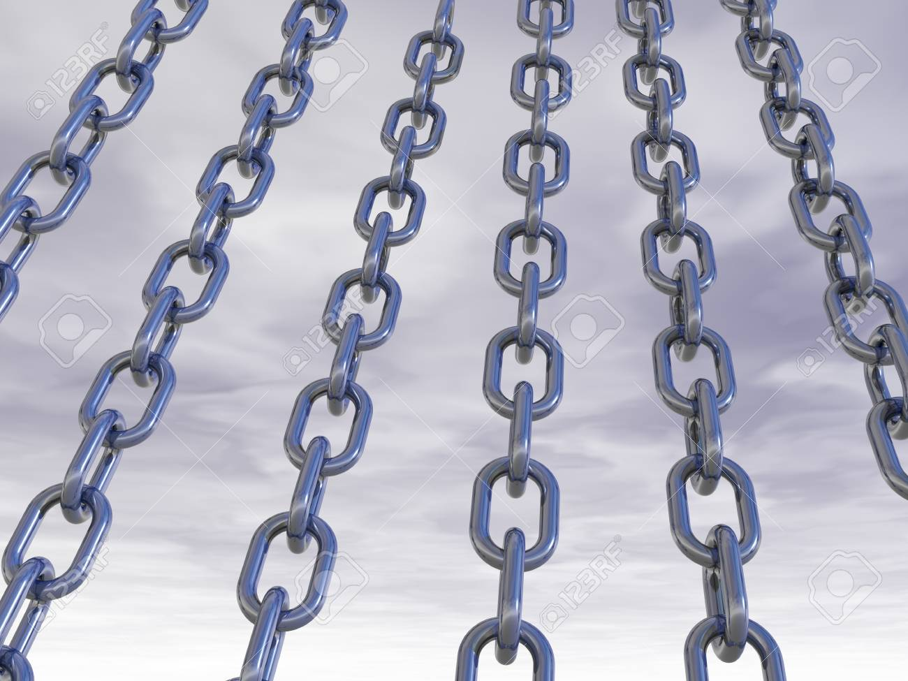 metal chains in front of cloudy sky - 3d illustration Stock Illustration - 15704622