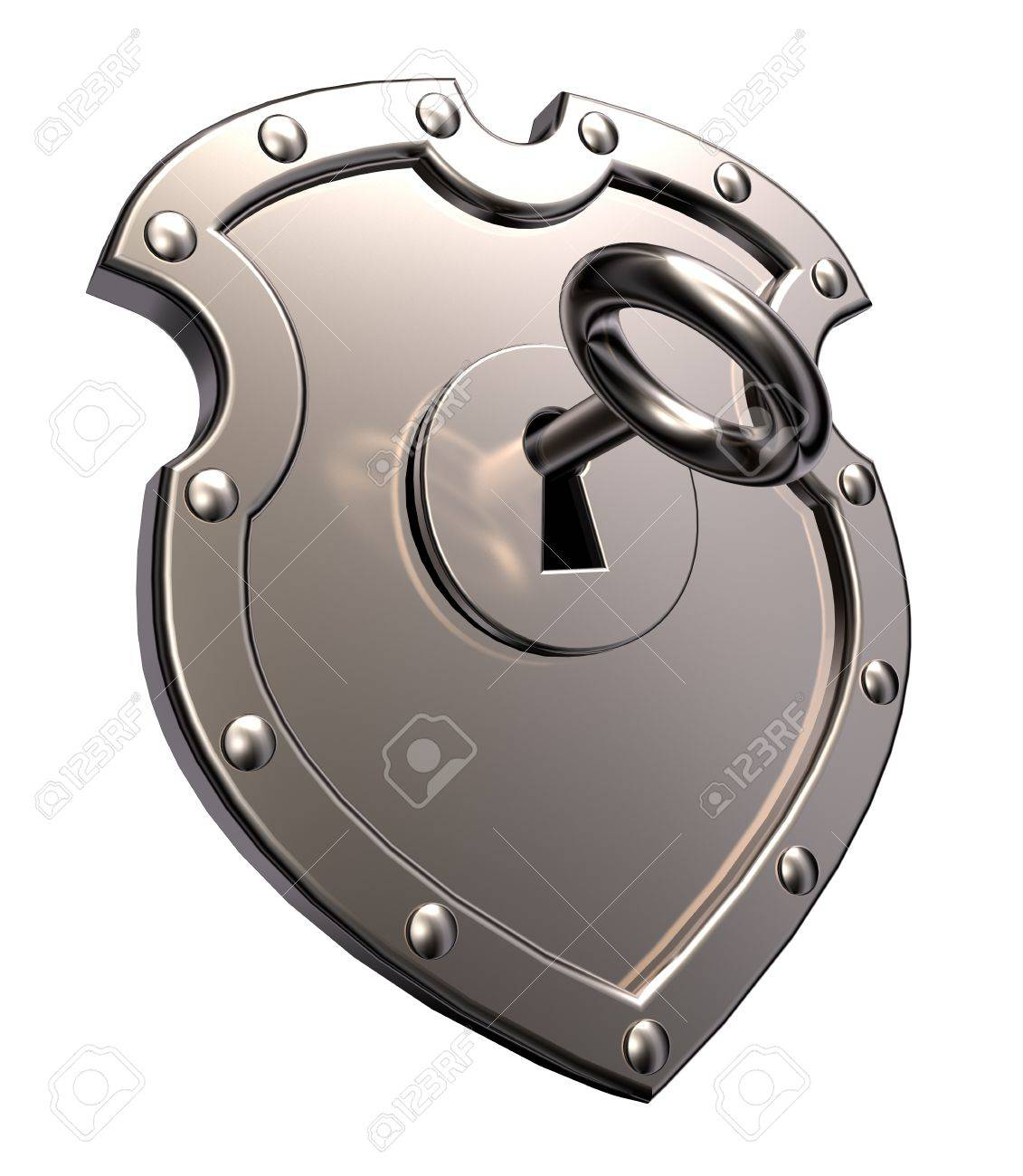 metal shield with keyhole and key on white background - 3d illustration Stock Illustration - 15731495