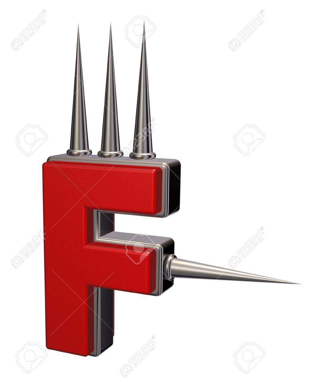 letter f with metal prickles on white background - 3d illustration Stock Illustration - 16270664