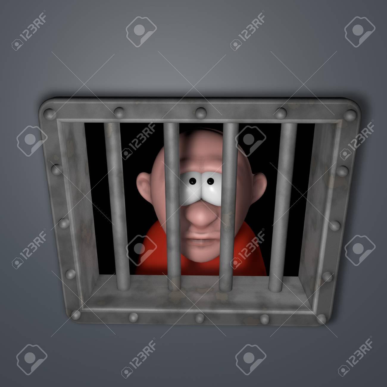 cartoon guy behind riveted steel prison window - 3d illustration Stock Photo - 16513222