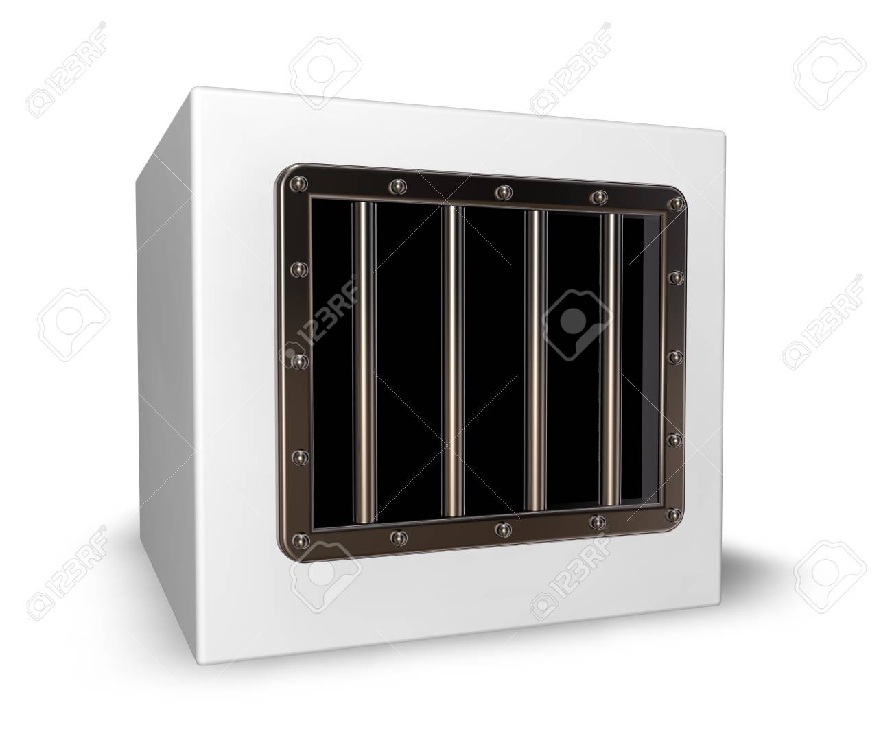 box with prison window - 3d illustration Stock Photo - 16606466