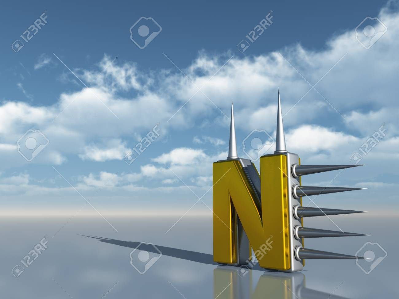 letter n with metal prickles under cloudy blue sky - 3d illustration Stock Illustration - 16606485