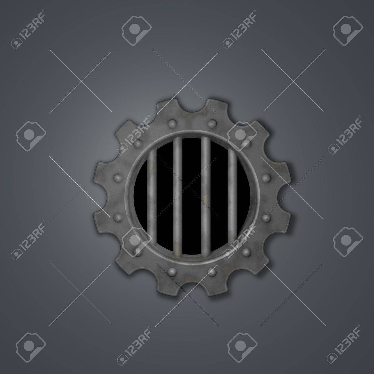 gear wheel prison window - 3d illustration Stock Illustration - 16711093