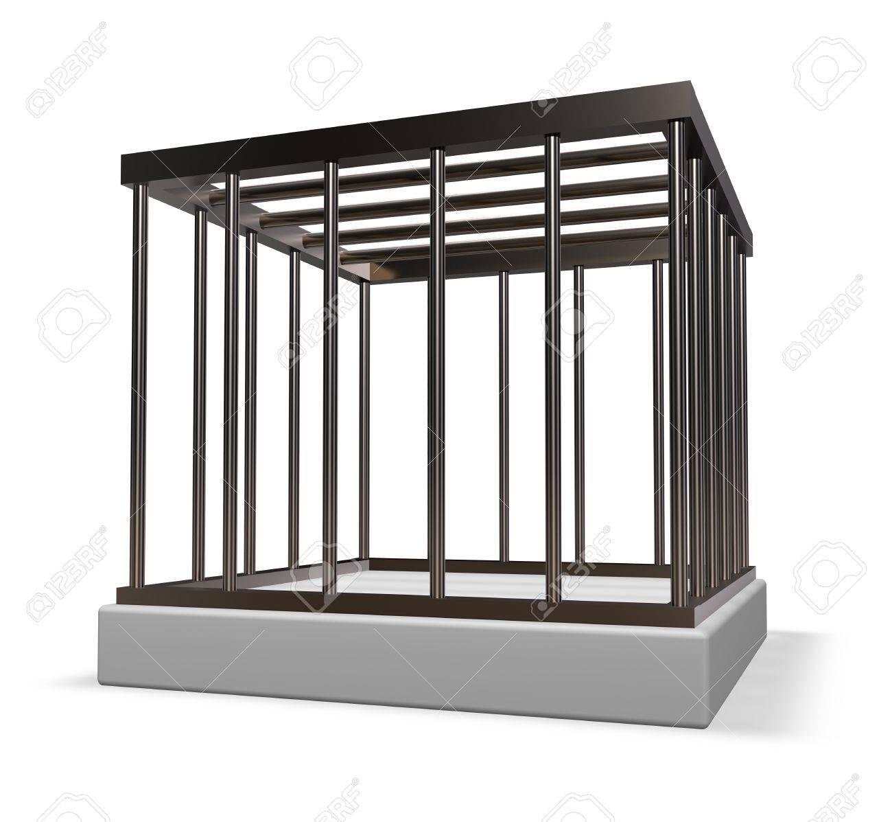 metal cage on white background - 3d illustration Stock Illustration - 16880738