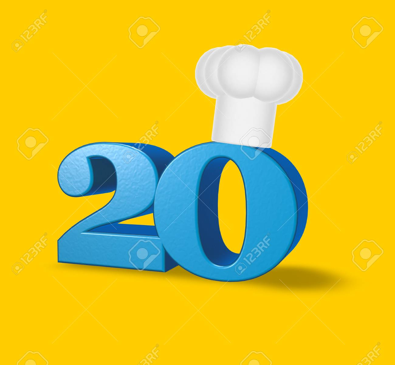 number twenty with cook hat on yellow background - 3d illustration Stock Illustration - 17157825