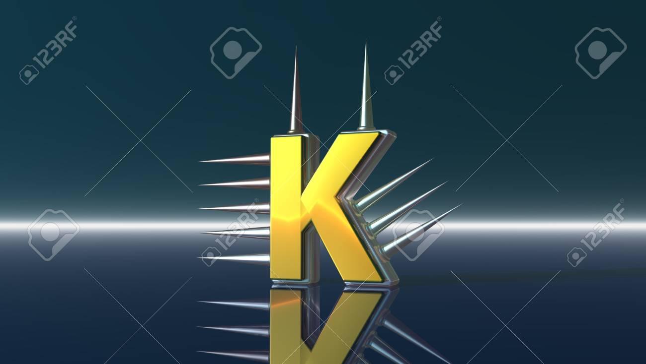 letter k with metal prickles - 3d illustration Stock Illustration - 17157854