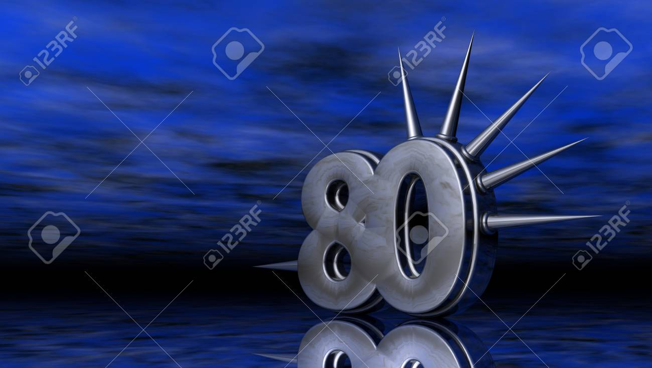 number eighty with prickles on abstract blue background - 3d illustration Stock Illustration - 18378794