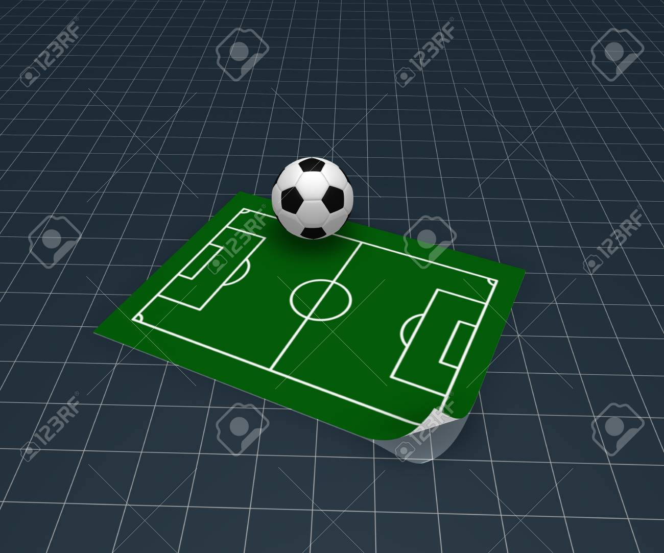 26467fef9 soccer ball and playground plan - 3d illustration Stock Illustration -  18378816