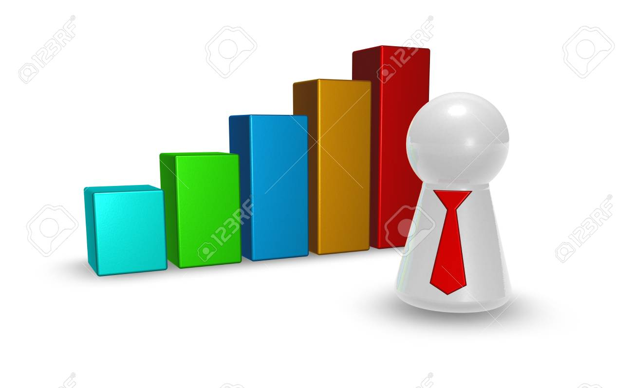 statistics bars and play figure with tie - 3d illustration Stock Photo - 18430458