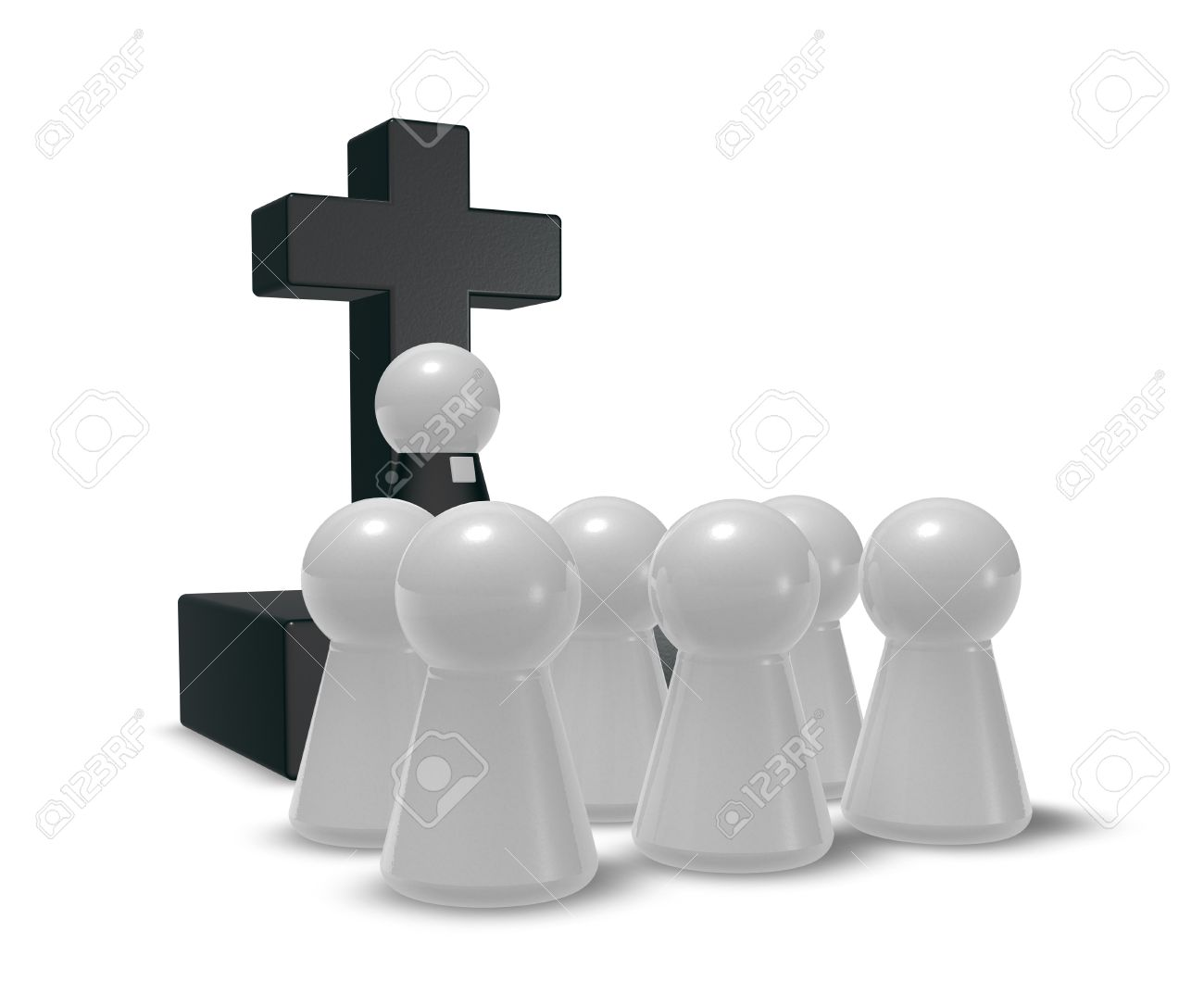 Simple Pastor Figure Christian Cross Symbol And Crowd 3d