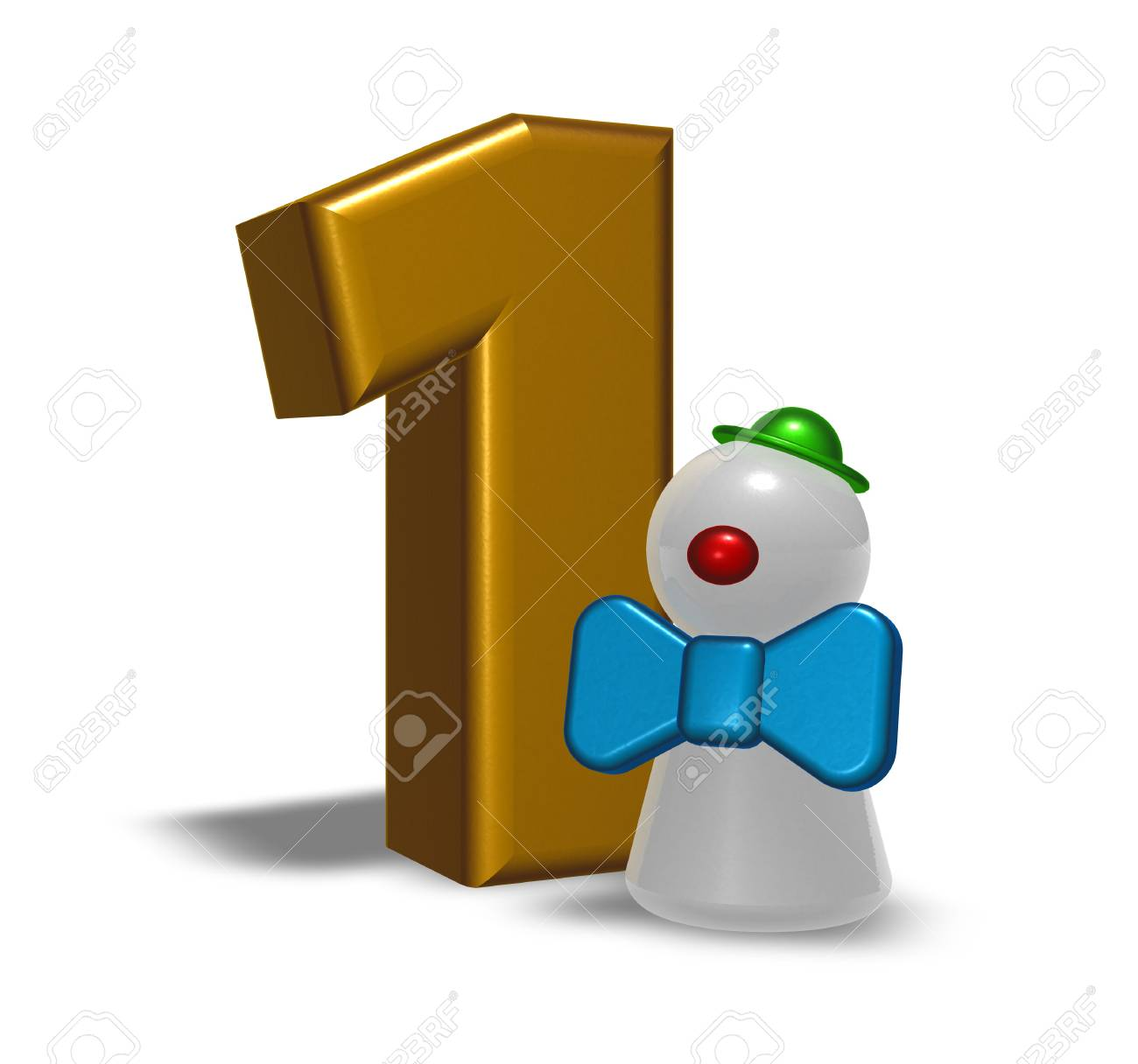 number one and clown - 3d illustration Stock Photo - 21775323