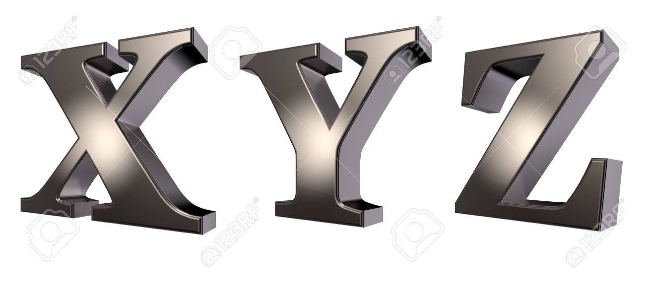 White Metal Letters Custom Metal Letters X Y And Z On White  3D Illustration Stock Photo Design Inspiration