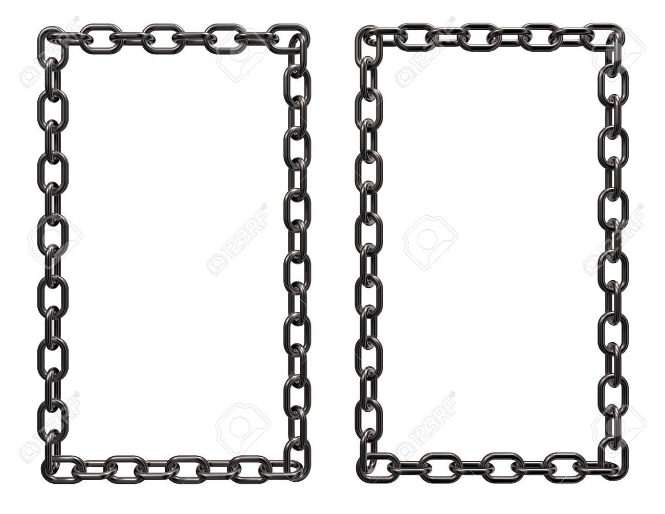 Cadenas De Metal Frontera Marco Sobre Fondo Blanco - 3d Prestación ...