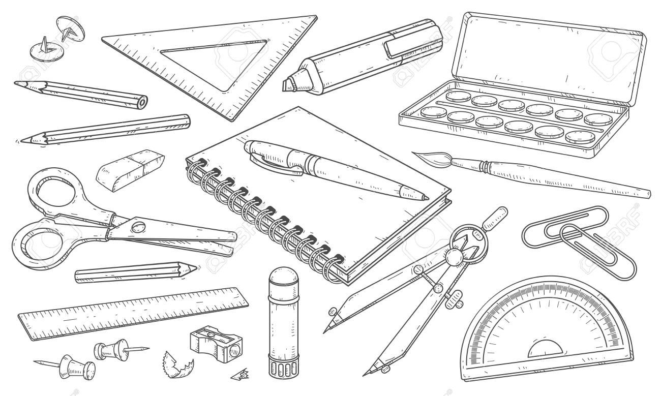 Vector illustration drawn set of stationery art materials