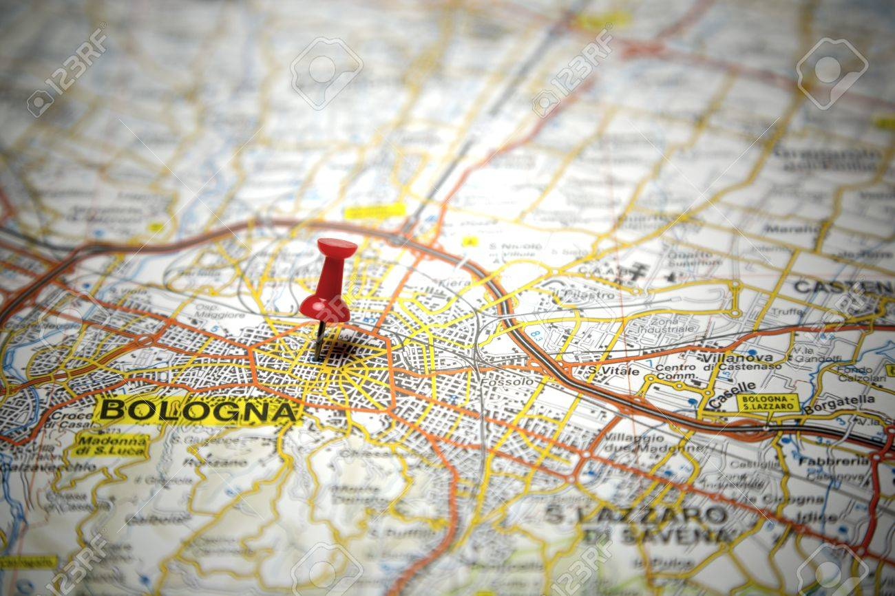Road Map Of The City Of Bologna Italy Stock Photo Picture And