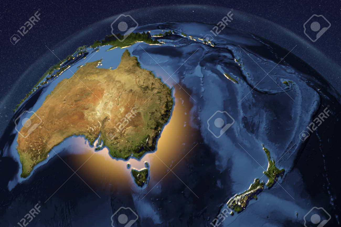 Planet earth from space showing australia and new zealand with illustration planet earth from space showing australia and new zealand with enhanced bump 3d illustration gumiabroncs Image collections