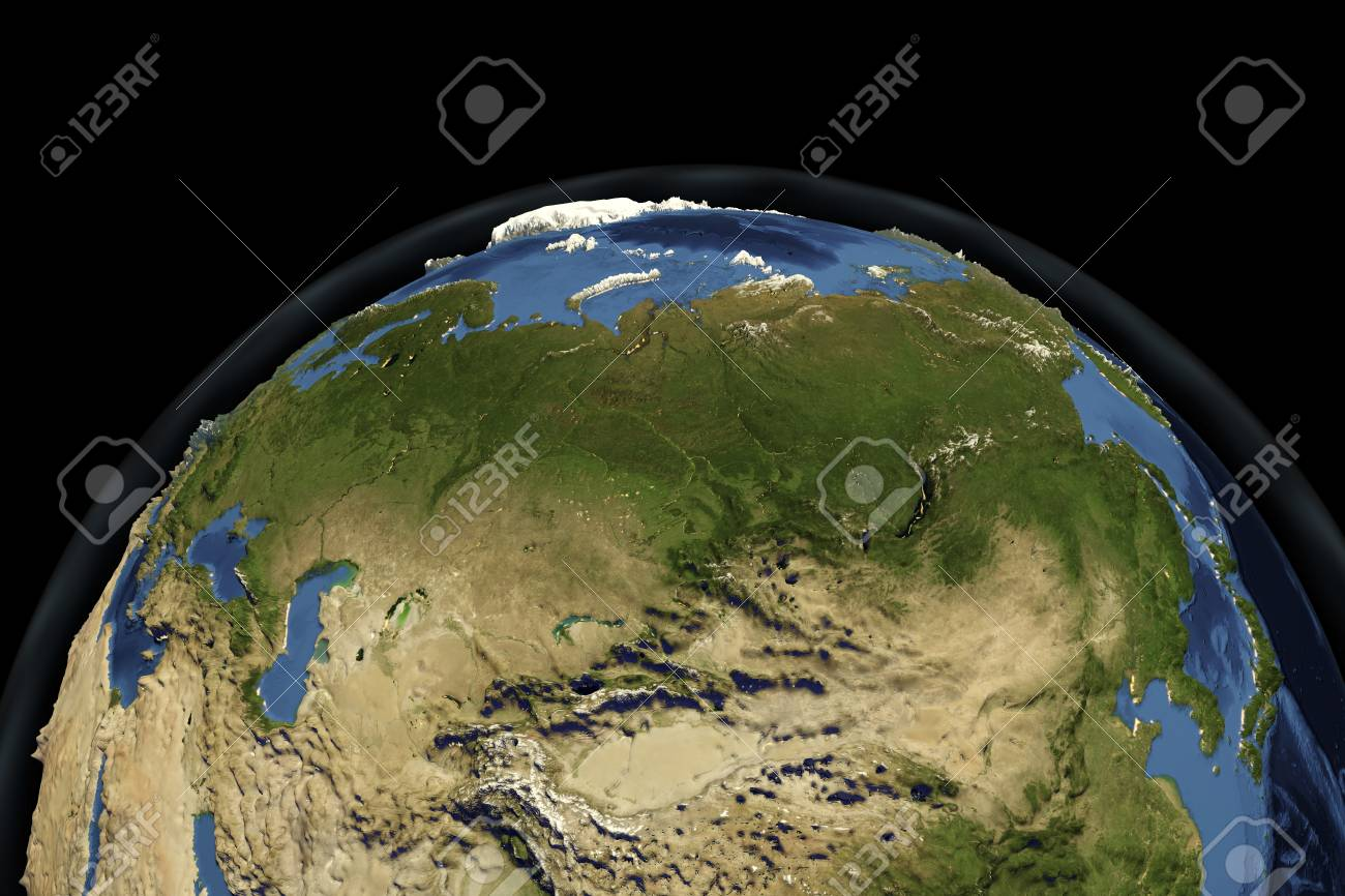 3d Globe Map Bump Map.Planet Earth From Space Showing Russia With Enhanced Bump 3d