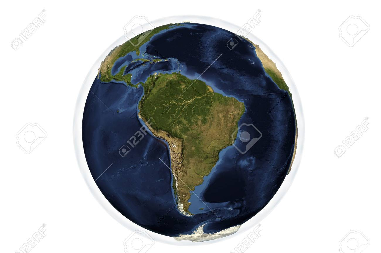 3d Globe Map Bump Map.Planet Earth From Space Showing South America With Enhanced Bump