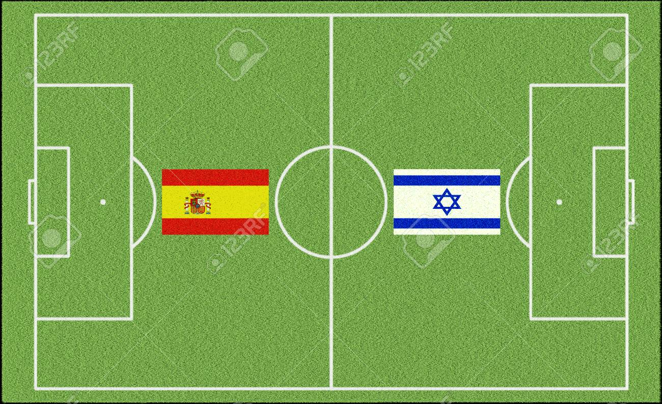 Spain against Israel at world championship in football with flags