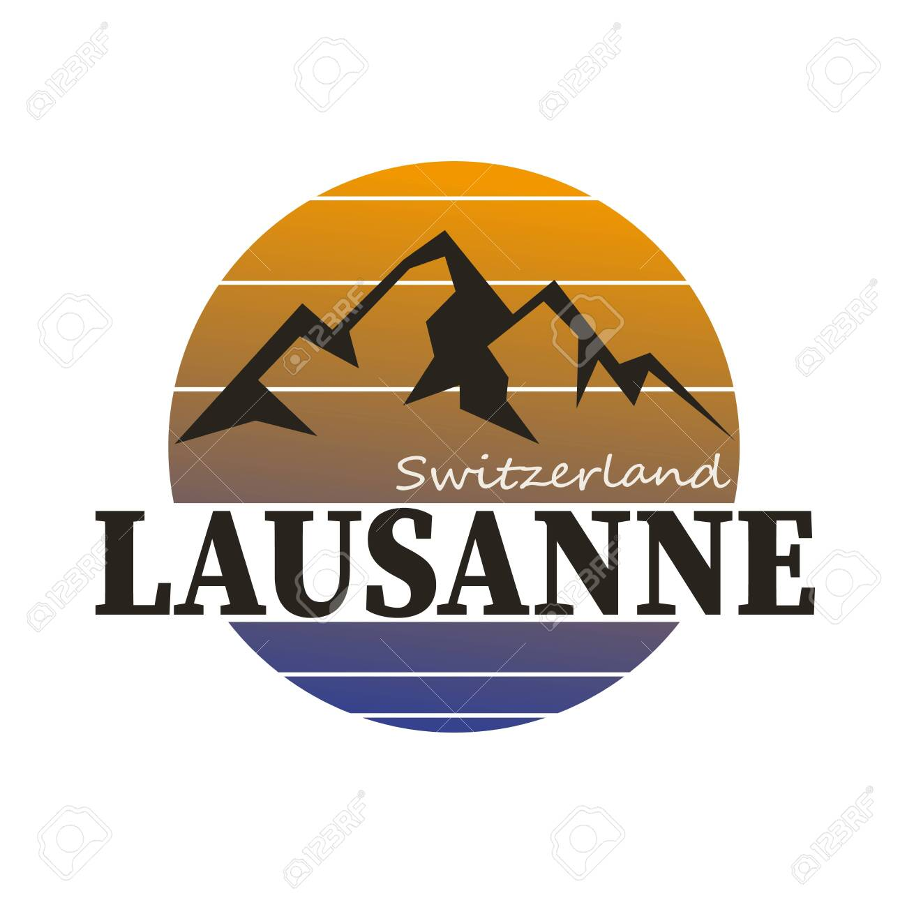 LOGO BADGE with the text Switzerland, Lausanne, vector illustration - 141789361