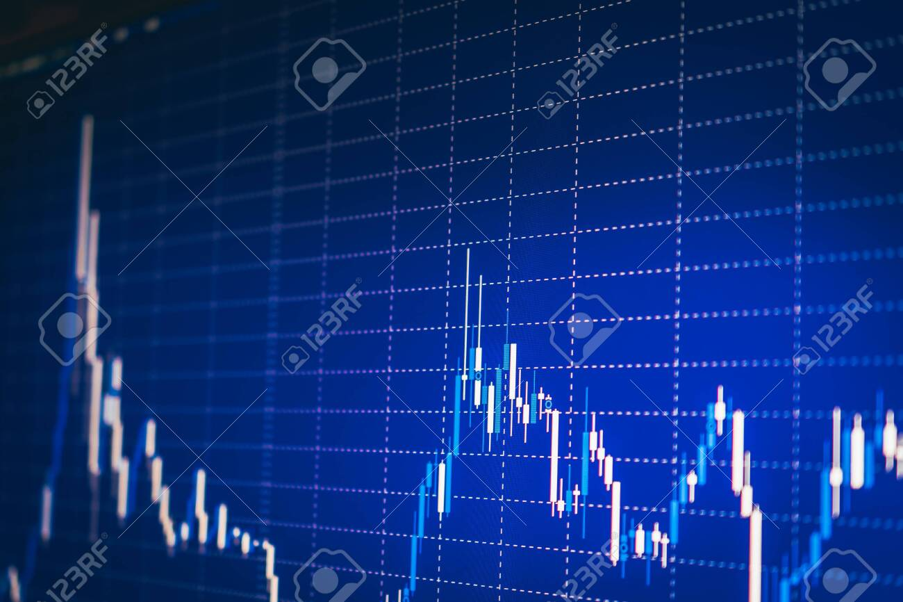 Display of quotes pricing graph visualization under blue background. Financial statistic analysis on dark background with growing financial charts. Stock analyzing. Price chart bars. - 151213354