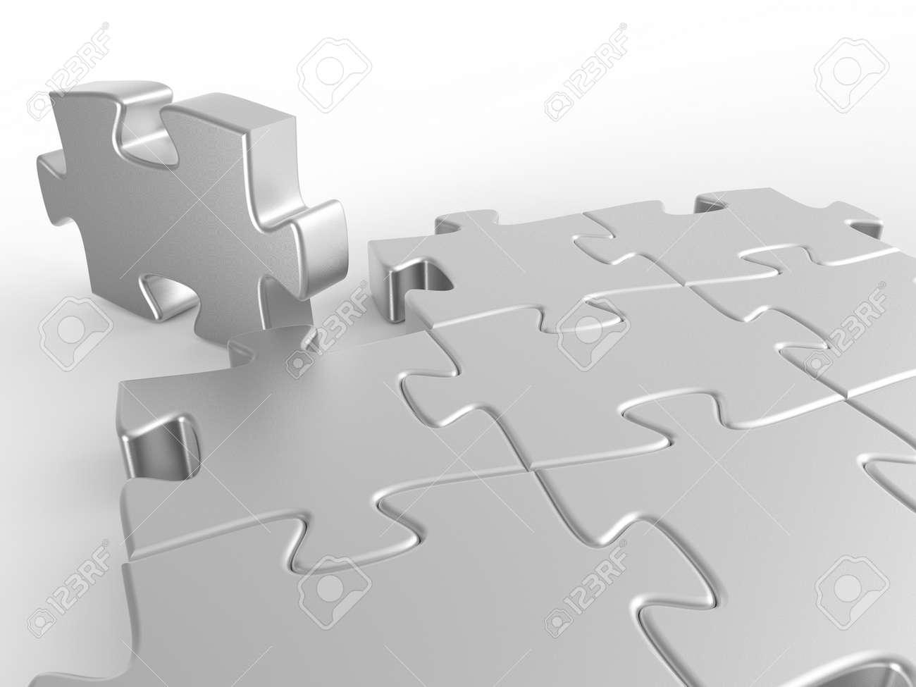 Puzzle. 3D illustration. 3D CG. - 153863881