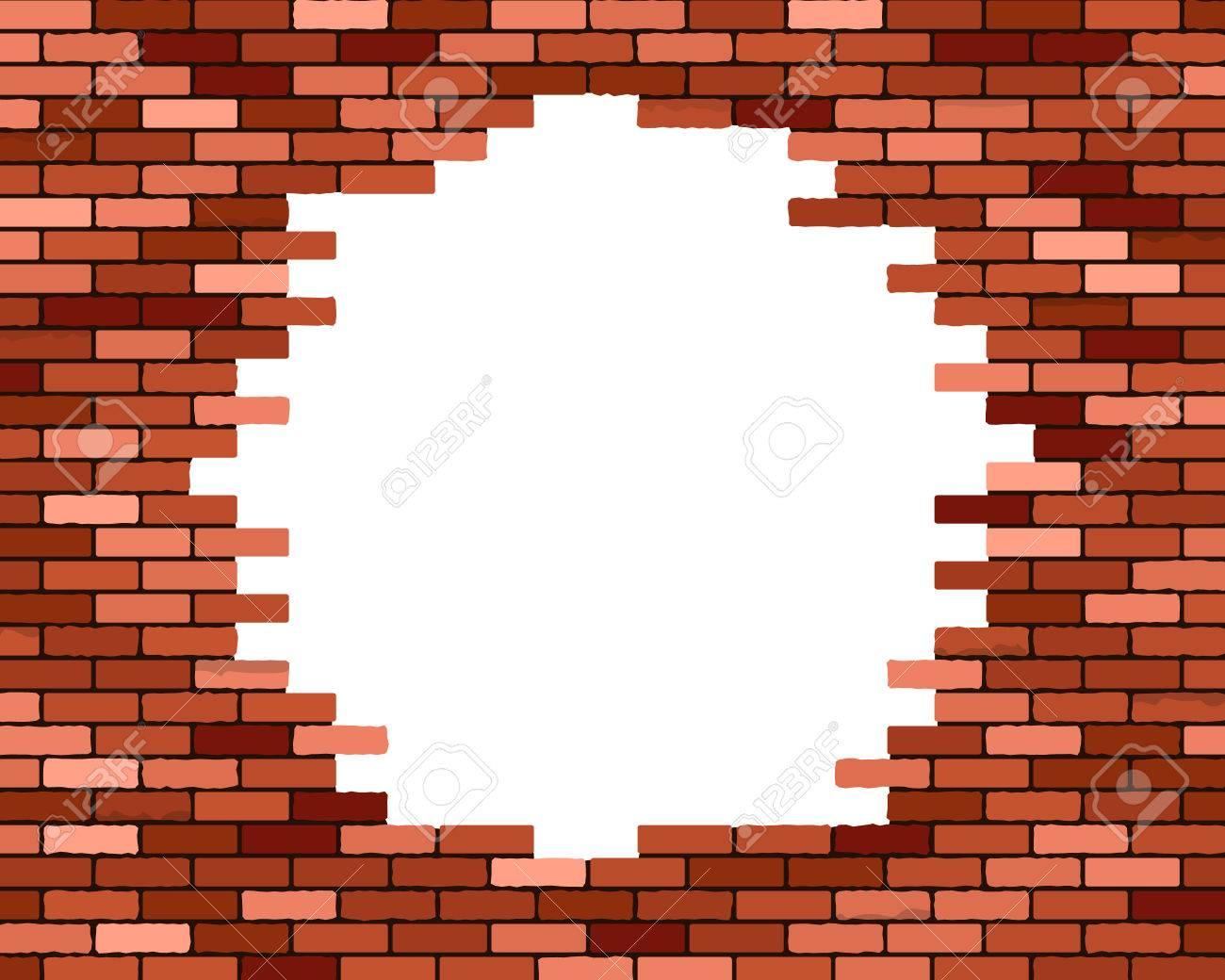 Broken Brick Wall Vector Eps10 Illustration Stock