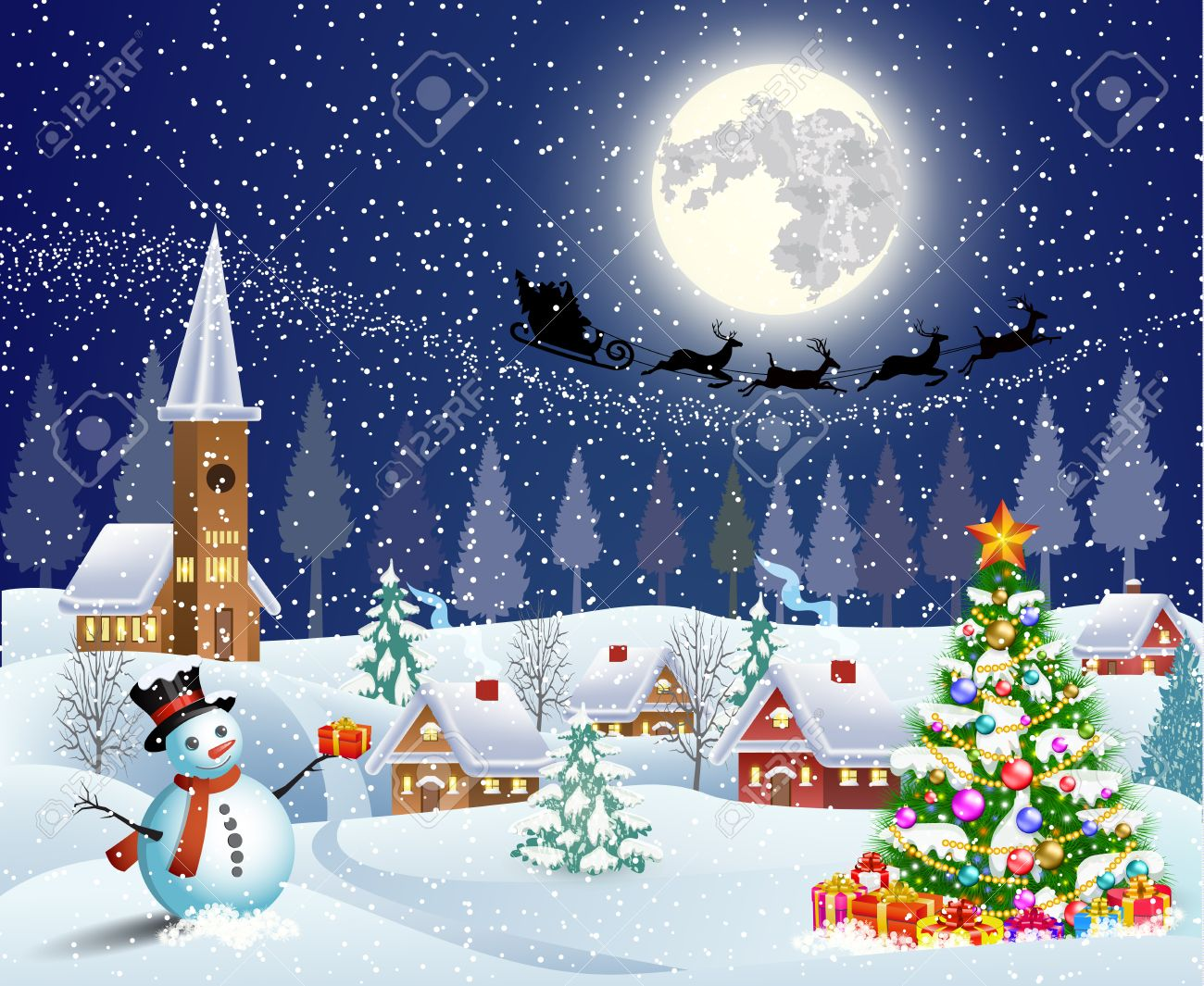 Christmas landscape with christmas tree and snowman with gifbox.  background with moon and the silhouette of Santa Claus flying on a sleigh. concept for greeting or postal card, vector illustration Stock Vector - 46551286