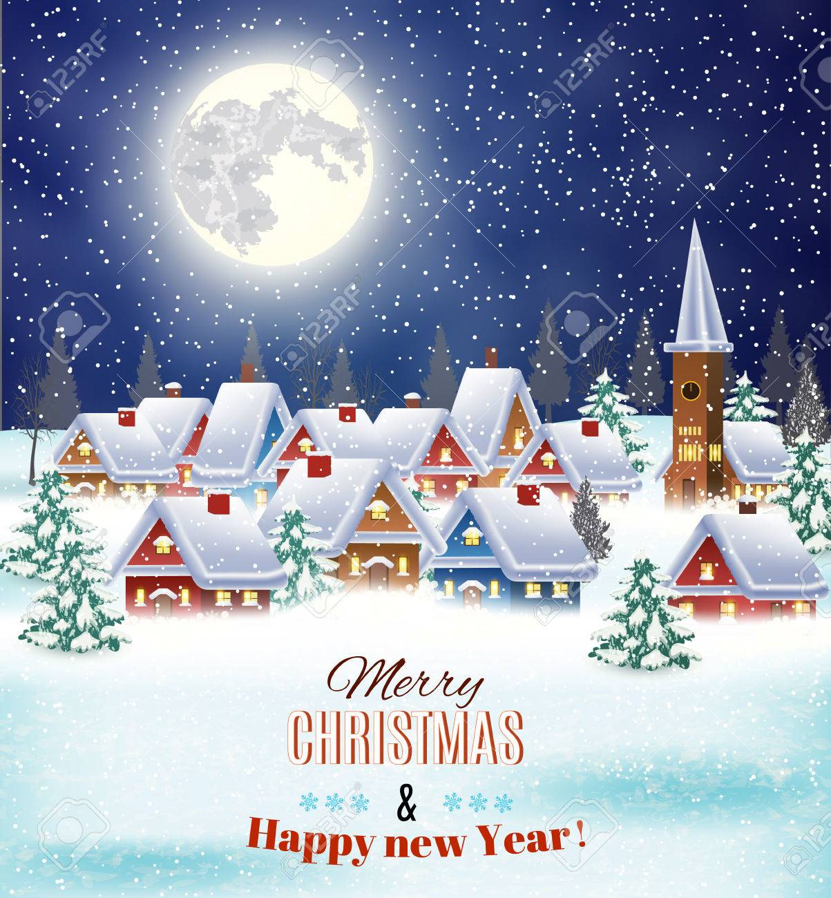 New year and Christmas winter village night landscape background. Vector illustration. concept for greeting or postal card - 46551362