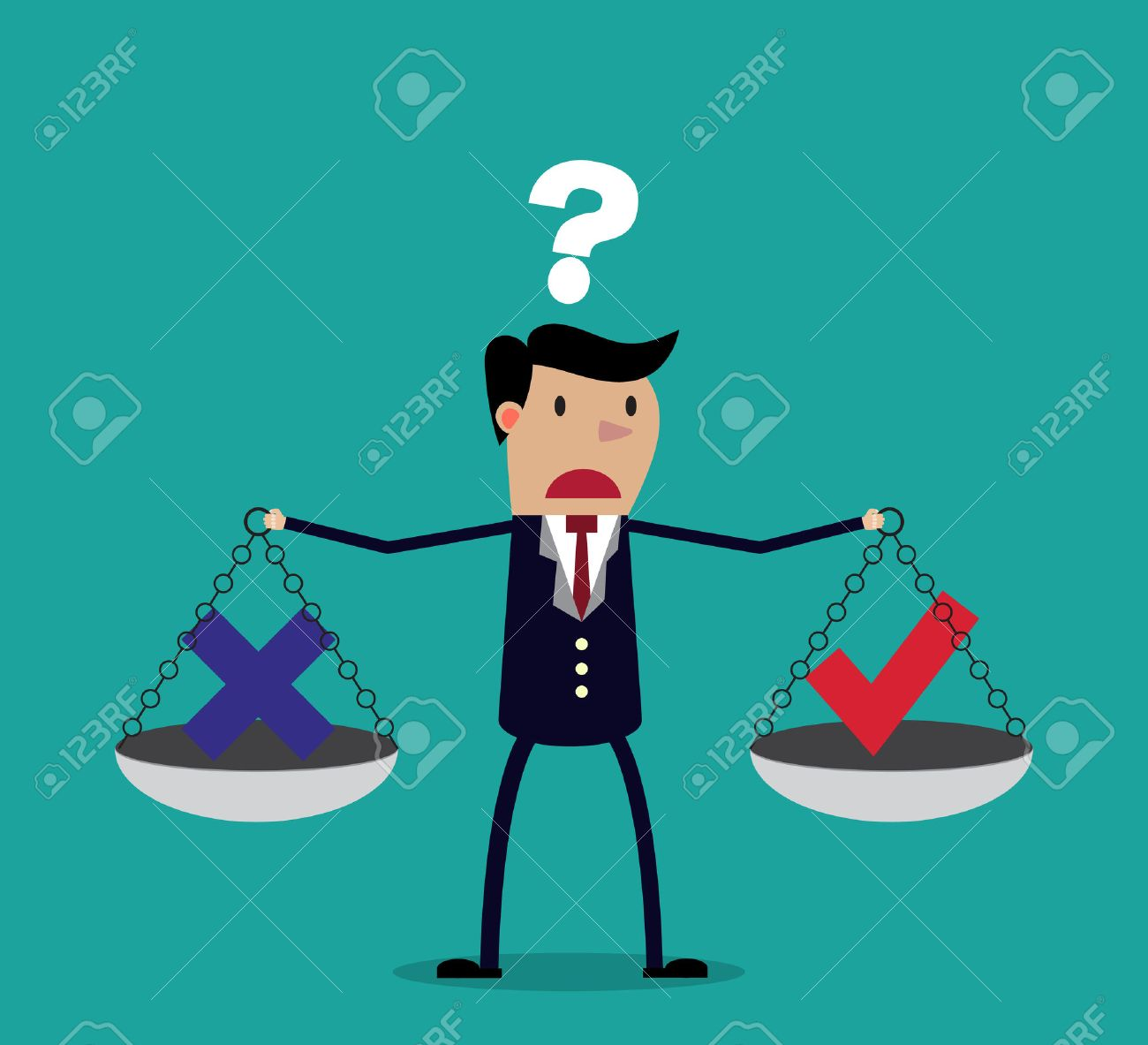 Cartoon businessman balancing cross and tick symbol on two weighing trays on both arms. Creative vector illustration for ethical dilemma concept isolated on green background. - 47844808