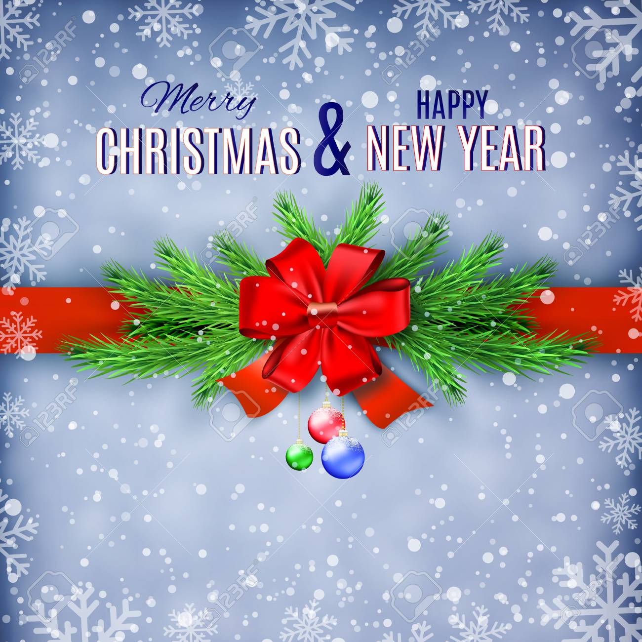 Happy New Year And Merry Christmas Greeting Card Design Vector